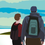 Clip art of a backpacking wearing man and boy gaze out onto a blue sky and green fields.